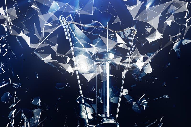 ilustração 3D que explode a ampola em um fundo azul, em um pensamento criativo do conceito e em umas soluções inovativas rede fotos de stock royalty free