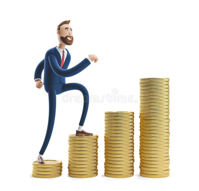 ilustração 3D Retrato de um homem de negócios considerável Billy com uma pilha de dinheiro fotografia de stock