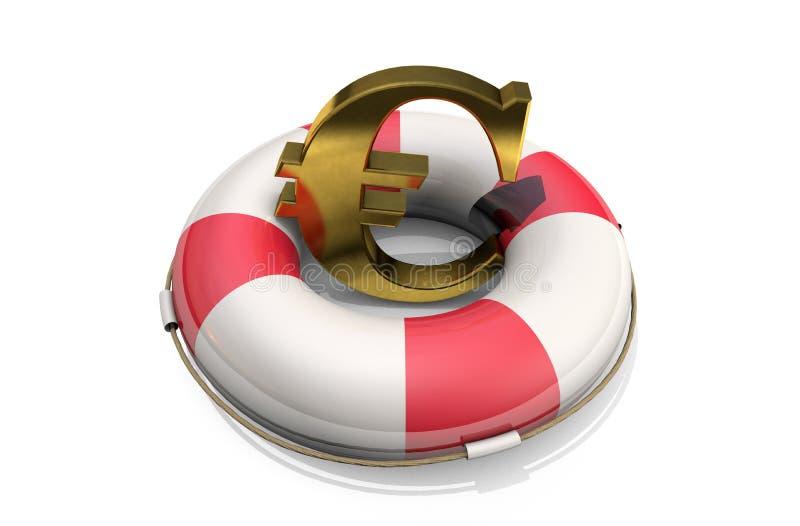 ilustração 3d: Símbolo dourado do euro em um boia salva-vidas, isolado no fundo branco Apoio para a economia da Uni?o Europeia Fi ilustração do vetor