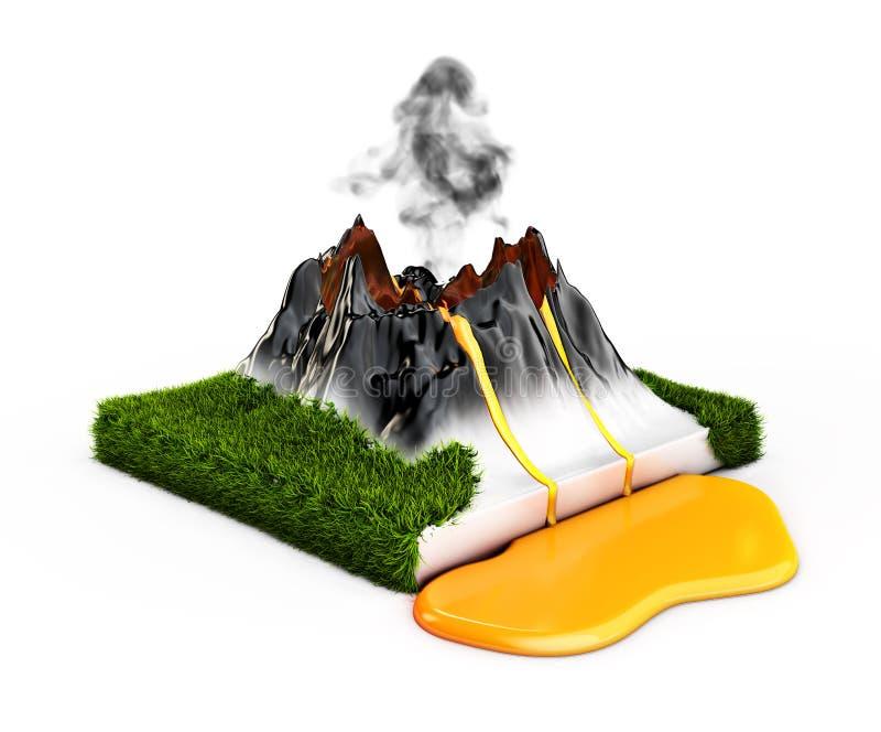 ilustração 3D Vulcão da montanha da cratera, grama e lava da erupção, erupção natural quente ilustração stock
