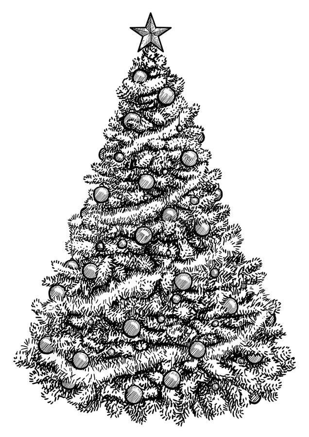 Ilustração da árvore de Natal, desenho, gravura, tinta, linha arte, vetor ilustração royalty free