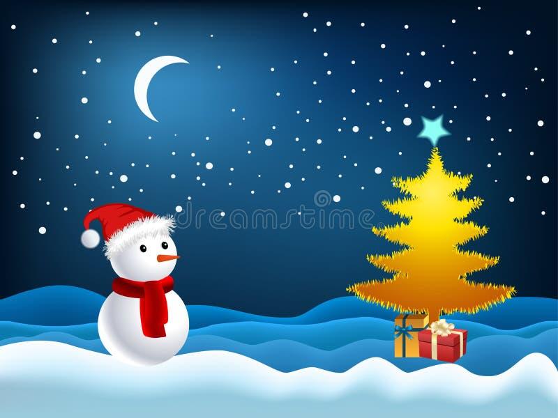Ilustração da árvore e do boneco de neve do Xmas ilustração do vetor