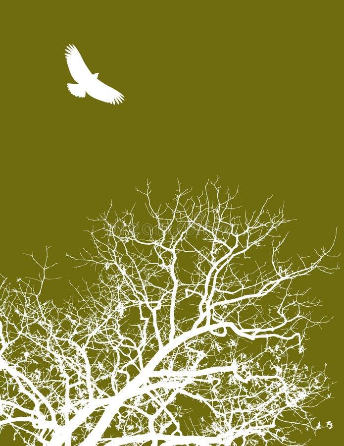 Ilustração da árvore e do pássaro ilustração do vetor
