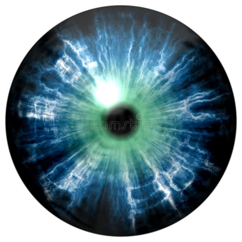 Ilustração da íris dos olhos azuis, reflexão clara Vista nos olhos abertos ilustração stock