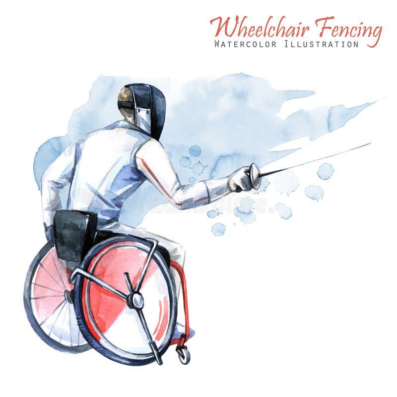 Ilustração da aguarela Cadeira de rodas que cerca o esporte Figura do atleta deficiente na cadeira de rodas com uma espada ativo ilustração do vetor