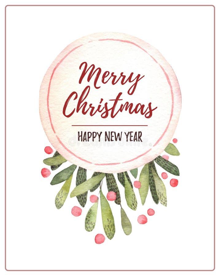Ilustração da aguarela Cartão de Natal decorativo com mistleto ilustração stock