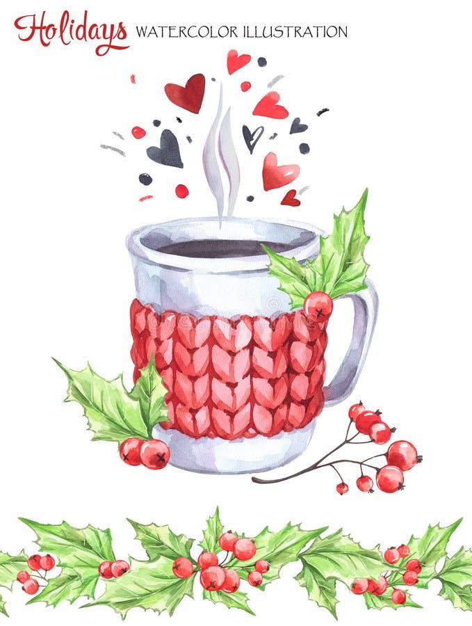 Ilustração da aguarela Copo pintado à mão da bebida quente com caixa feita malha, Rowan e folhas Beira floral sem emenda ilustração stock