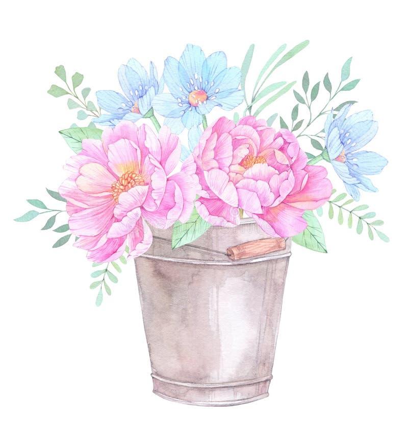 Ilustração da aguarela Cubeta com elementos florais Wi do ramalhete ilustração royalty free