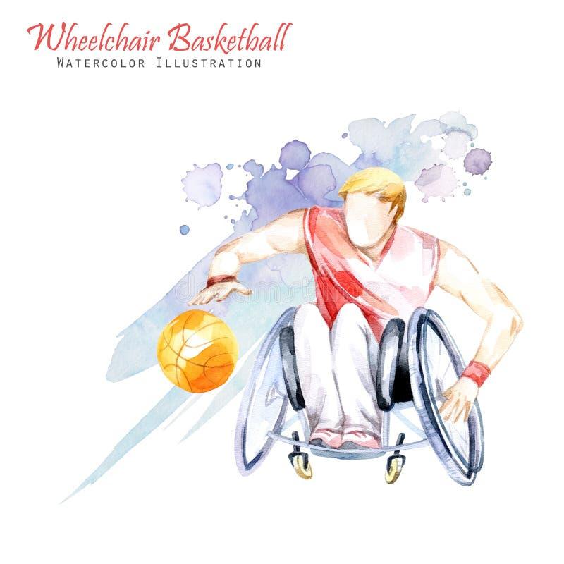 Ilustração da aguarela Esporte de Backetball Paralympic da cadeira de rodas Figura do atleta deficiente na cadeira de rodas com a ilustração stock