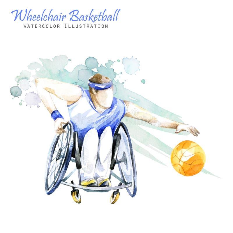 Ilustração da aguarela Esporte de Backetball Paralympic da cadeira de rodas Figura do atleta deficiente na cadeira de rodas com a ilustração do vetor