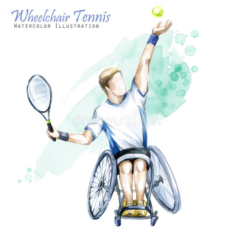 Ilustração da aguarela Esporte do tênis da cadeira de rodas Figura do atleta deficiente na cadeira de rodas com uma raquete ativo ilustração do vetor