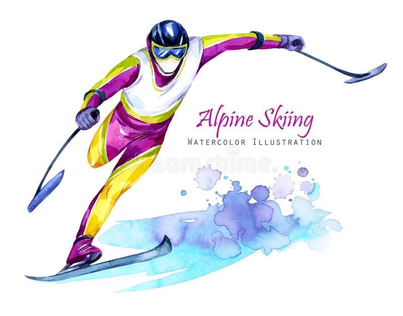 Ilustração da aguarela Esqui de Alpin Esportes da neve da inabilidade Equitação deficiente do atleta pelo esqui na neve Povos ati ilustração royalty free