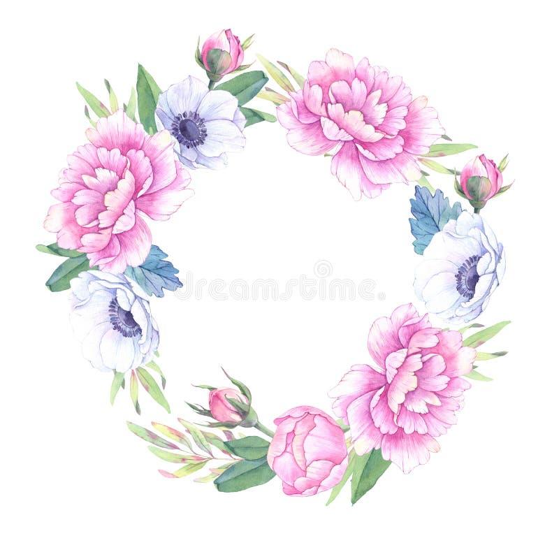 Ilustração da aguarela Grinalda floral com folhas, peônias e ilustração do vetor