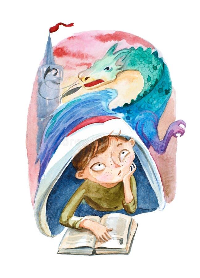Ilustração da aguarela O menino com livro que sonha sobre um grande ilustração stock