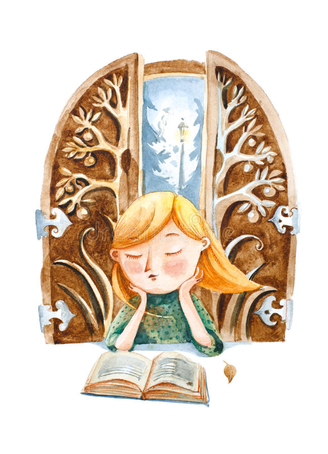 Ilustração da aguarela O menino com livro que sonha sobre um grande ilustração royalty free
