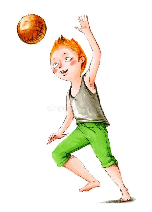 Ilustração da aguarela O menino sorrido está saltando com bola ilustração stock