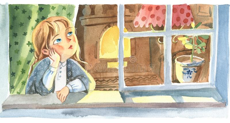 Ilustração da aguarela Opinião dianteira a menina ilustração do vetor