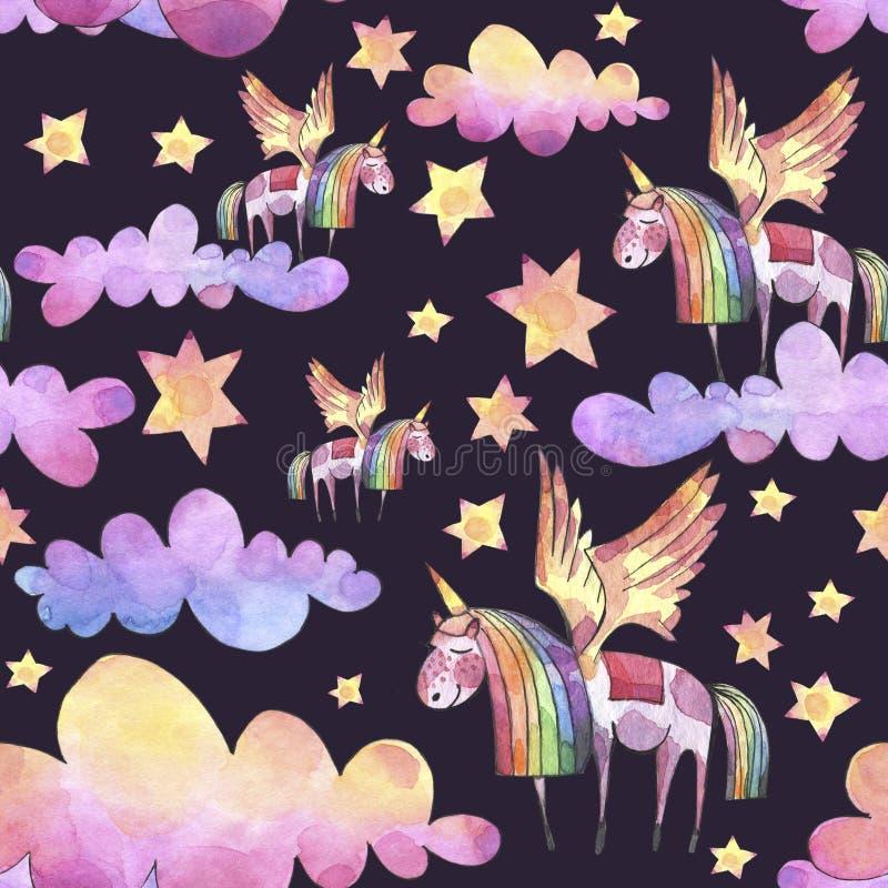 Ilustração da aguarela Teste padrão sem emenda com as nuvens, unicórnios e as estrelas brilhantes do arco-íris ilustração stock