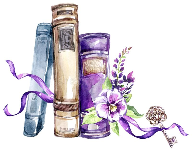 Ilustração da aguarela Uma pilha de livros velhos com uma curva, os pansies, as folhas e a chave Objetos antigos Coleção da mola  foto de stock