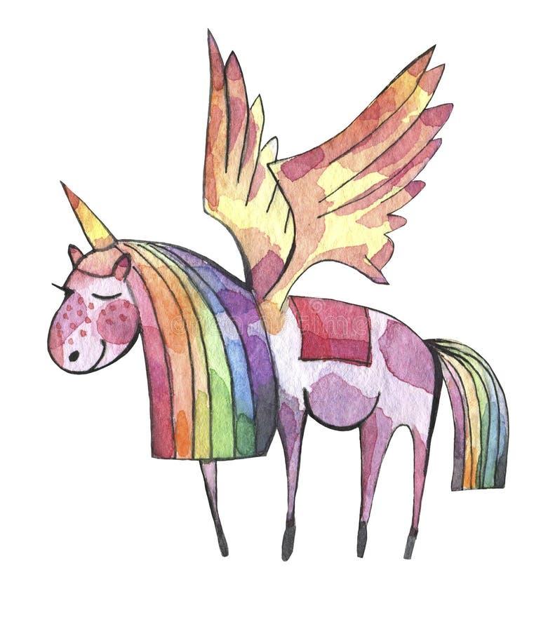 Ilustração da aguarela Unicórnio bonito com juba e cauda do arco-íris ilustração do vetor