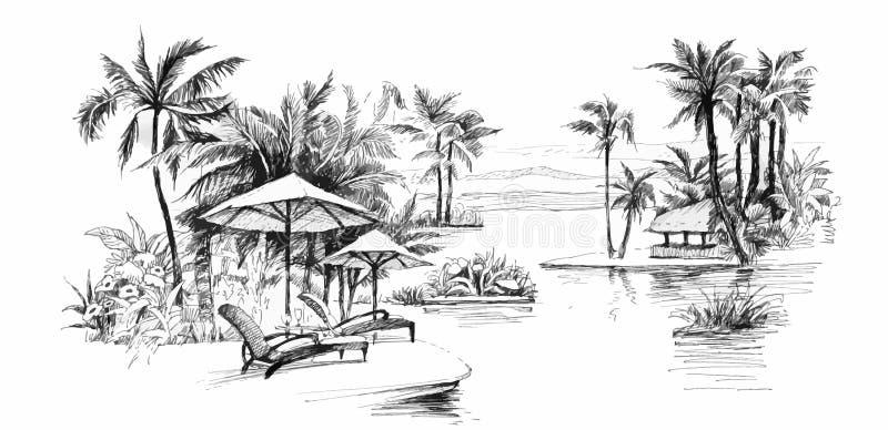 Ilustração da aleia da palma da pintura ilustração stock