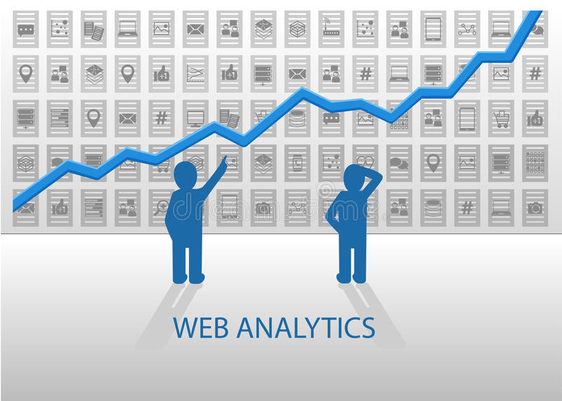 Ilustração da analítica da Web com linha carta do crescimento positivo Análise de dados em linha de dados sociais dos meios, dado ilustração stock