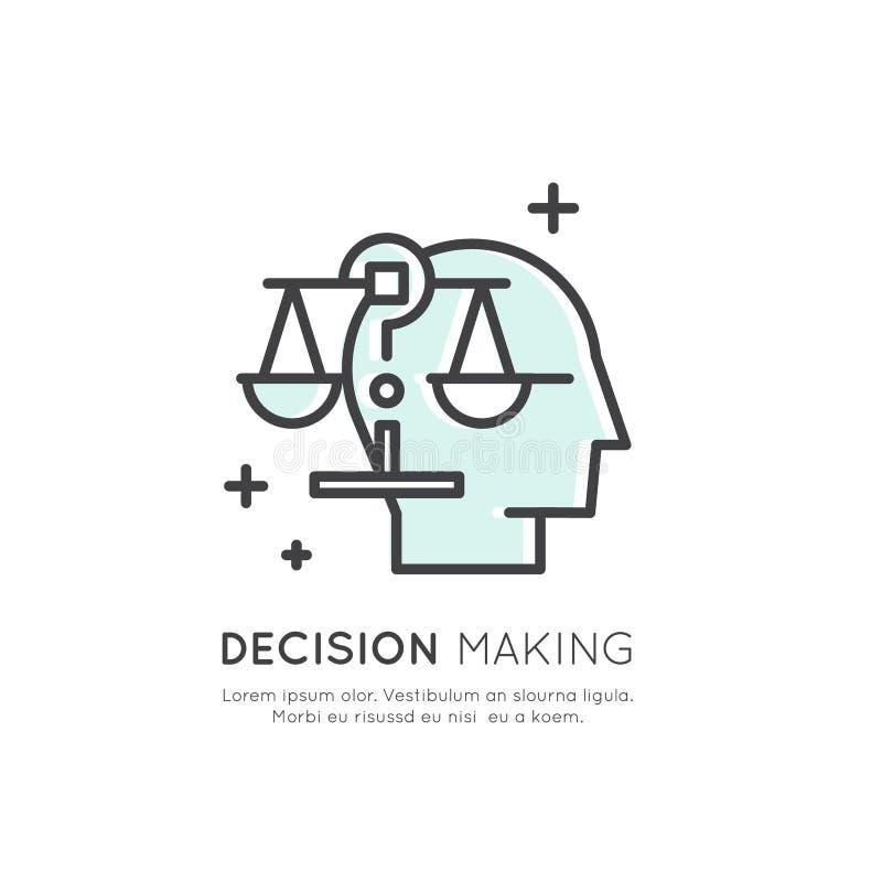Ilustração da analítica, gestão, habilidade de pensamento do negócio, tomada de decisão, gestão de tempo, memória, Sitemap, conce ilustração stock