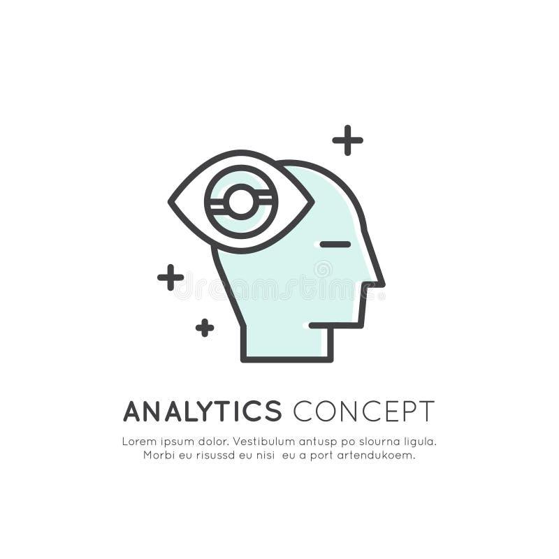 Ilustração da analítica, gestão, habilidade de pensamento do negócio, tomada de decisão, gestão de tempo, memória, Sitemap, conce ilustração do vetor