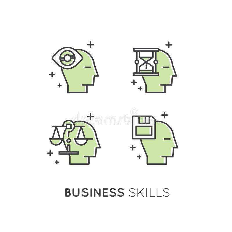 Ilustração da analítica, gestão, habilidade de pensamento do negócio, tomada de decisão, gestão de tempo, memória, Sitemap, conce ilustração royalty free
