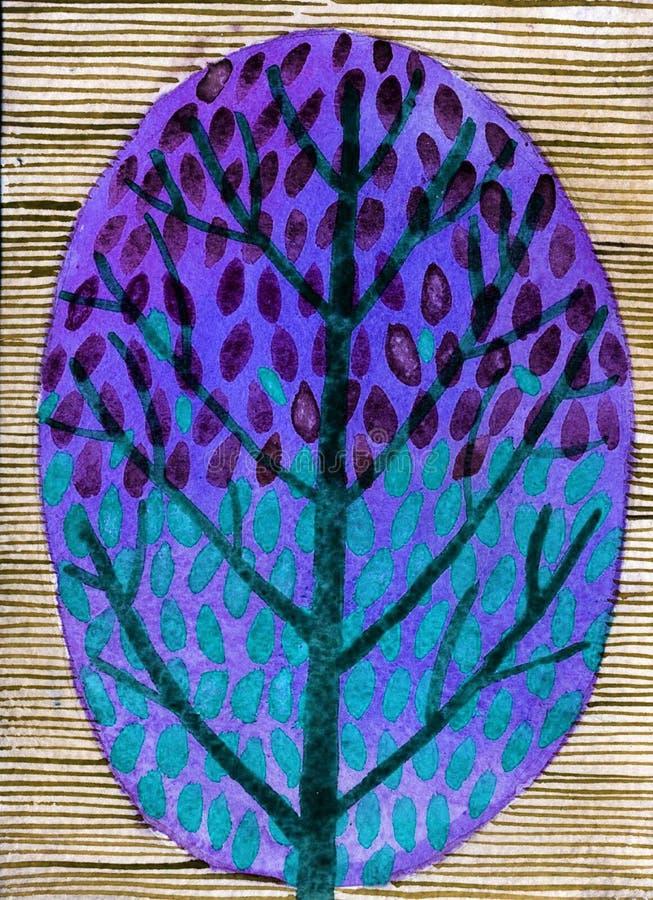 Ilustração da aquarela da árvore decorativa ilustração stock