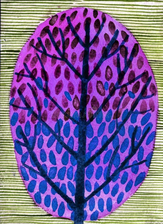 Ilustração da aquarela da árvore decorativa fotos de stock royalty free