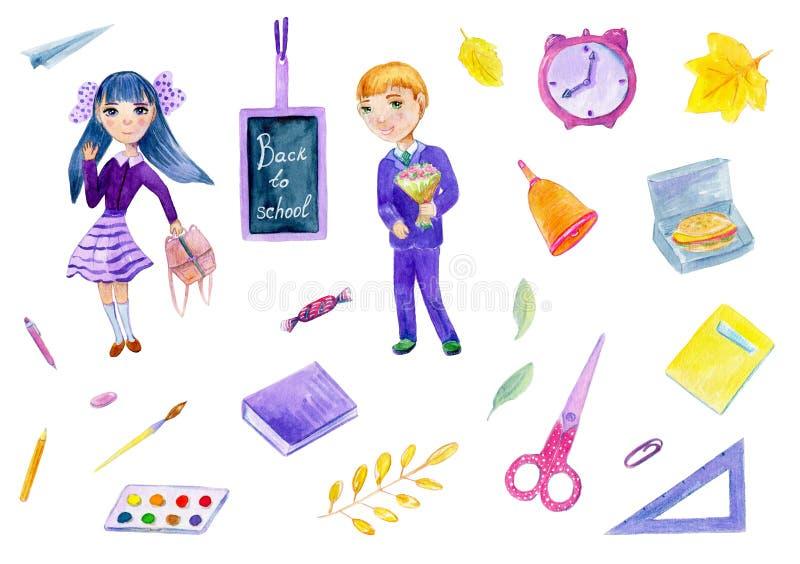 Ilustração da aquarela aproximadamente de volta à escola ajustada com menina e menino no fundo branco ilustração stock