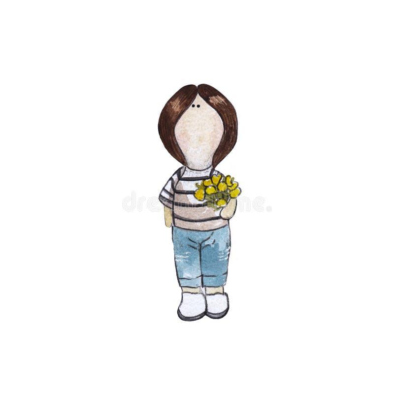 Ilustração da aquarela da boneca com tulipas amarelas imagens de stock
