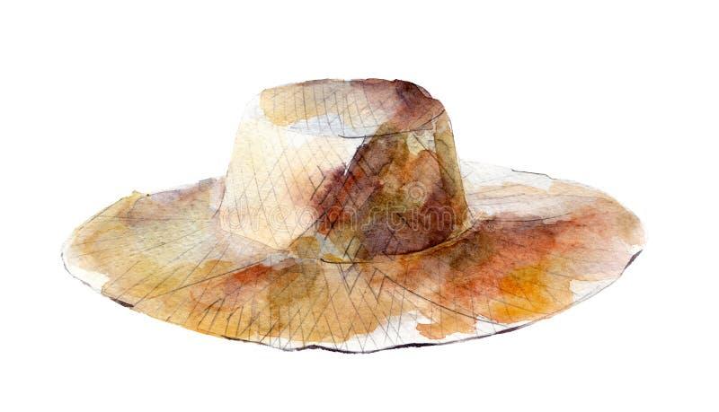 A ilustração da aquarela, chapéu de palha tirado mão isolou o objeto no branco ilustração stock