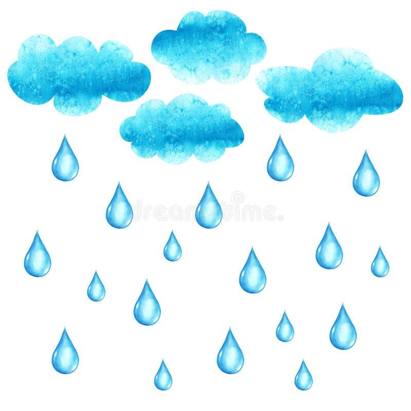 Ilustração da aquarela com cluods e gotas da chuva ilustração royalty free