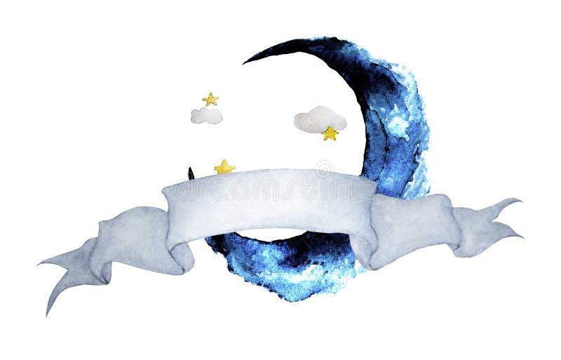 Ilustração da aquarela com a fita para o texto e a lua Meia lua com estrelas Bandeira da arte para seu projeto ilustração do vetor
