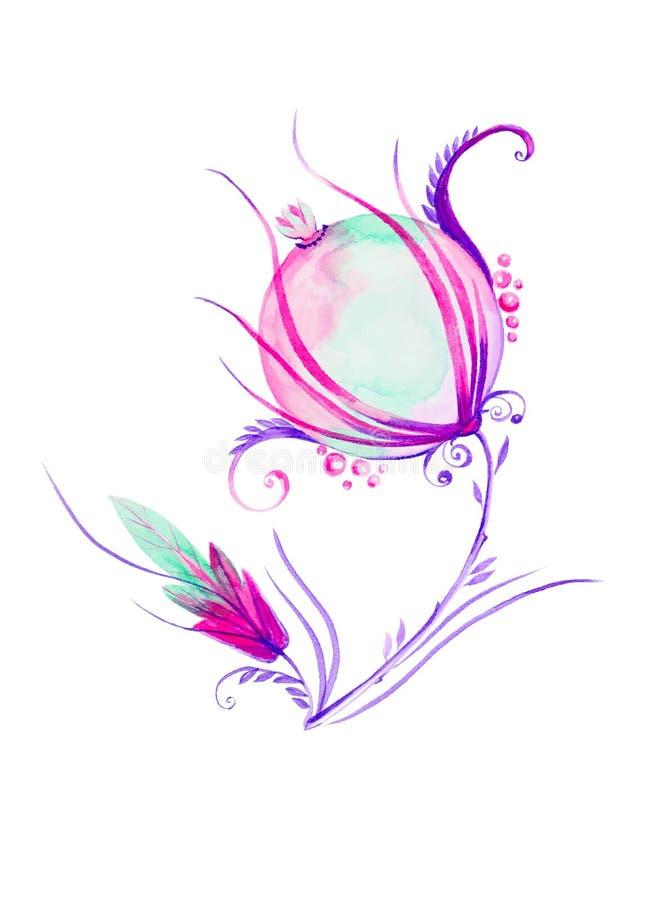 Ilustração da aquarela com a flor abstrata bonita Isolado no fundo branco ilustração royalty free