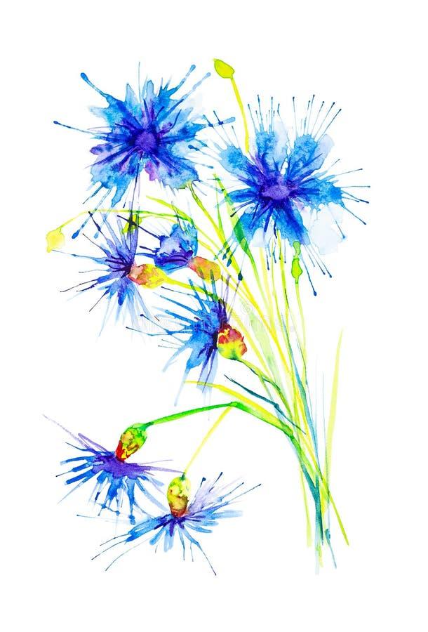 Ilustração da aquarela com a flor azul abstrata bonita Isolado no fundo branco ilustração do vetor