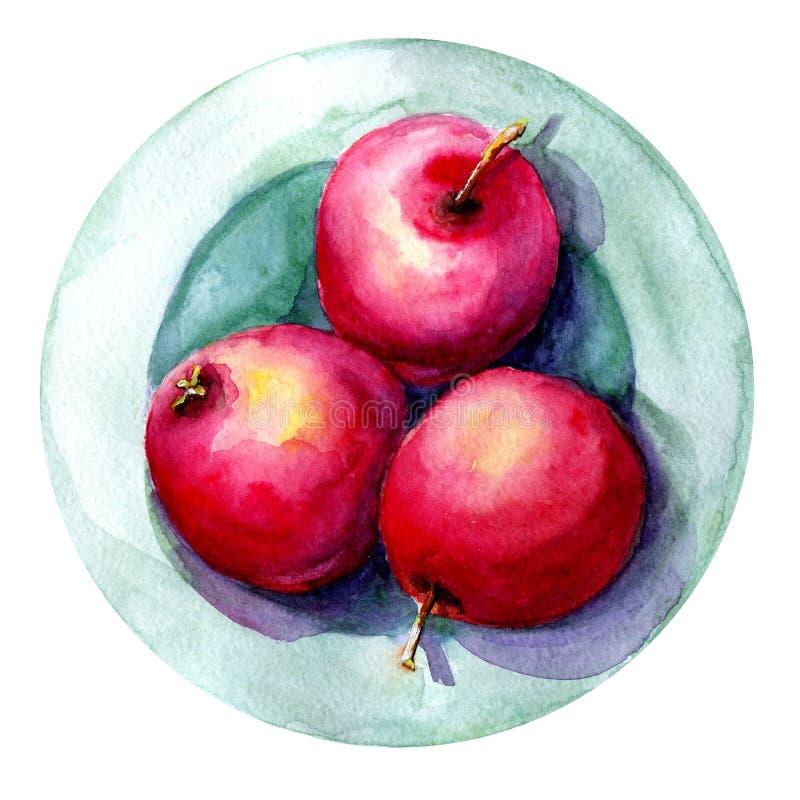 Ilustração da aquarela com a imagem das maçãs em uma placa Conceito para o mercado dos fazendeiros, produtos naturais, vegetarian fotografia de stock