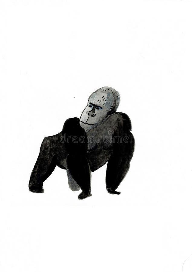 Ilustra??o da aquarela com uma pintura do gorila do macaco ilustração do vetor
