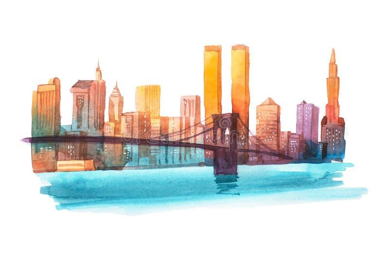 Ilustração da aquarela da arquitetura da cidade de New York da ponte de Manhattan ilustração royalty free