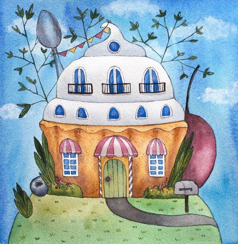 Ilustração da aquarela da casa do bolo/queque ilustração do vetor