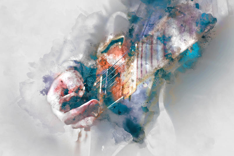 Ilustração da aquarela da guitarra elétrica ilustração do vetor