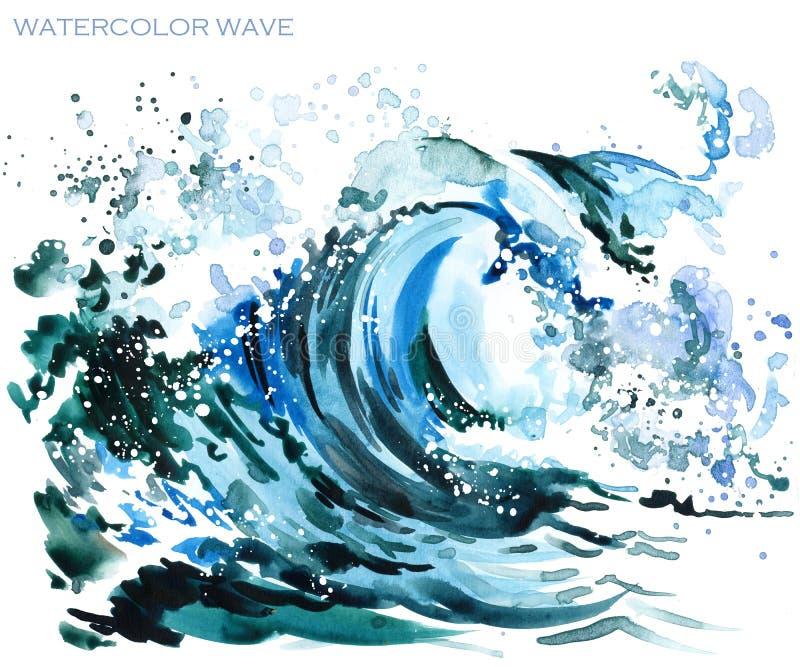 Ilustração da aquarela da onda do mar ilustração do vetor