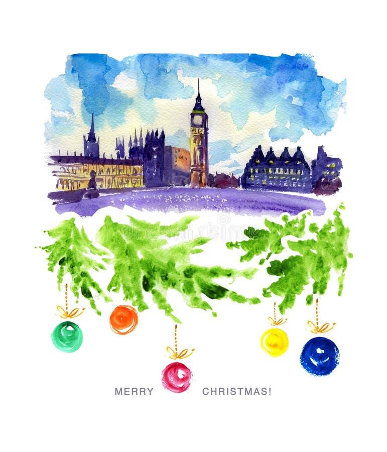 Ilustração da aquarela da opinião da cidade de Londres ilustração do vetor