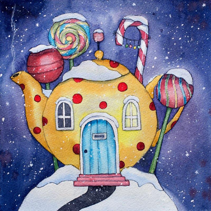 Ilustração da aquarela da terra dos doces do inverno ilustração do vetor