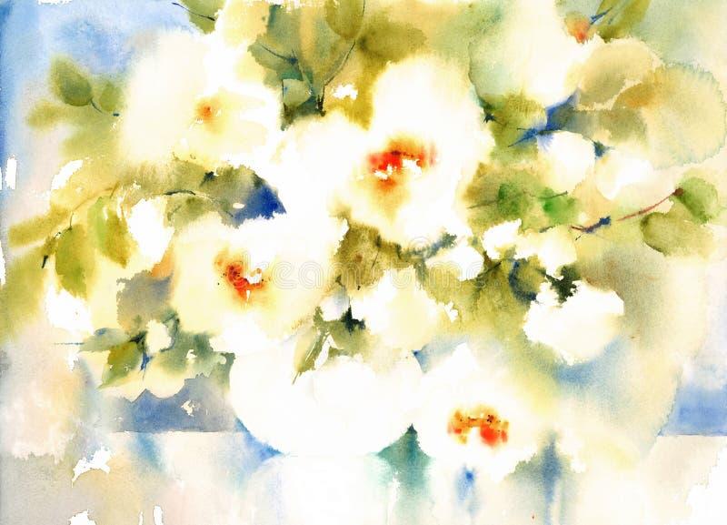 Ilustração da aquarela das flores brancas pintado à mão ilustração stock