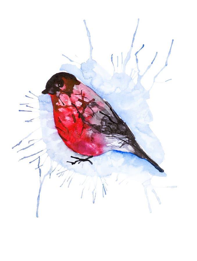 Ilustração da aquarela de Absrtact de um pássaro do dom-fafe isolado no fundo branco ilustração do vetor