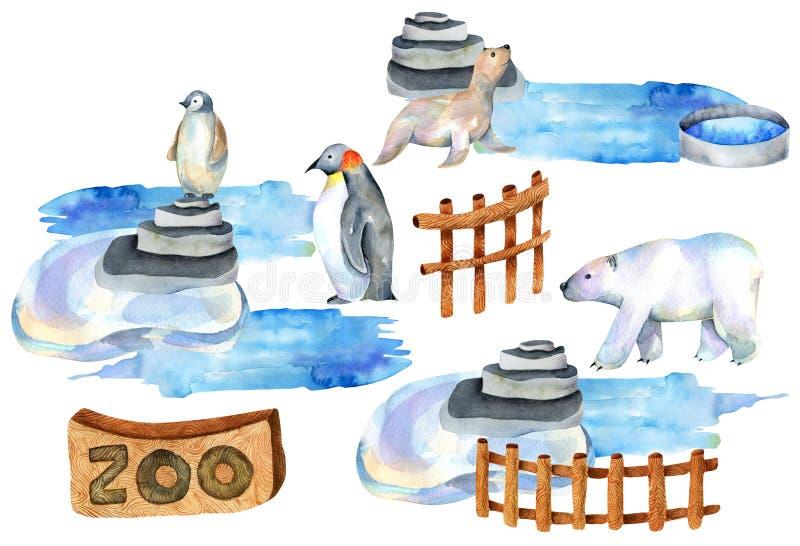 Ilustração da aquarela de animais polares no jardim zoológico ilustração stock