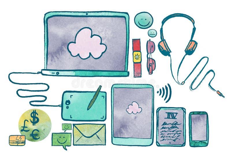 Ilustração da aquarela de dispositivos da tecnologia de comunicação ilustração royalty free